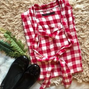 Max Jeans Red & White Gingham Tank size M